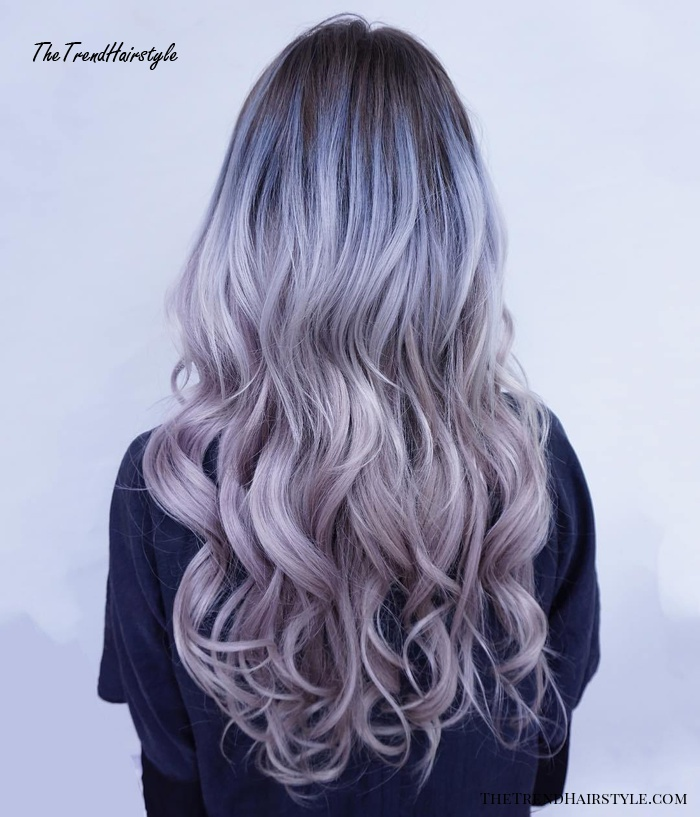 pastel blue curly hairstyle