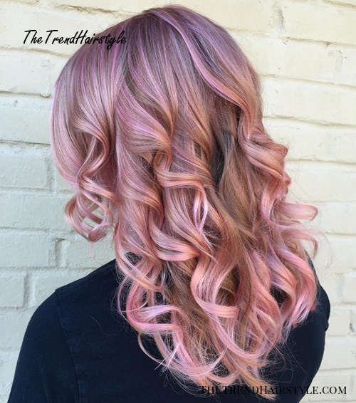 pastel lavender hair color with pink highlights