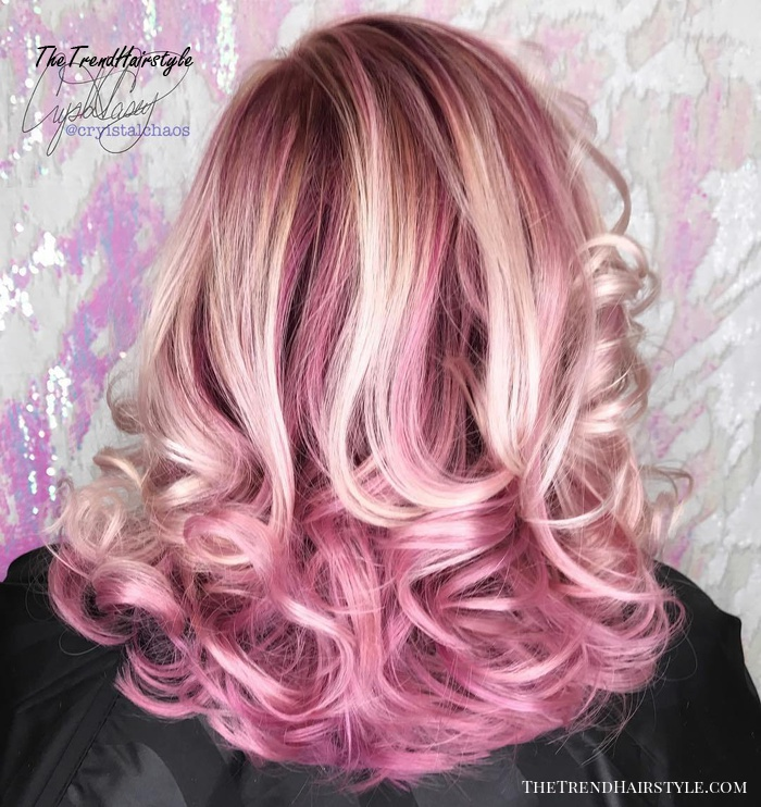 pastel pink hair with blonde highlights
