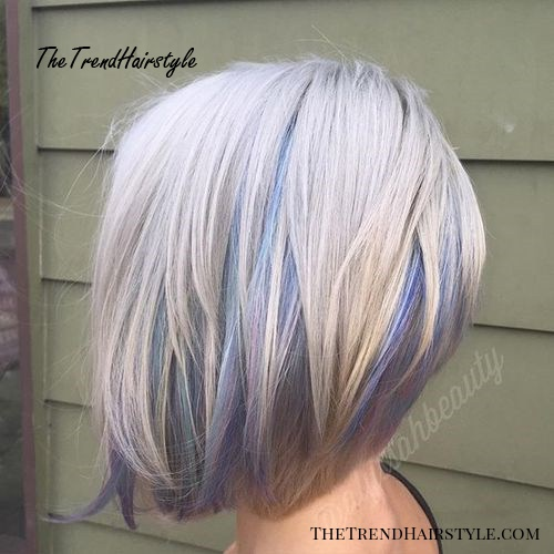 platinum bob with pastel highlights