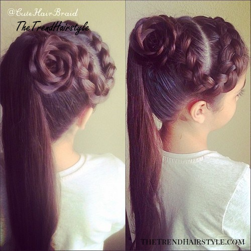 ponytail with a side braid and flower