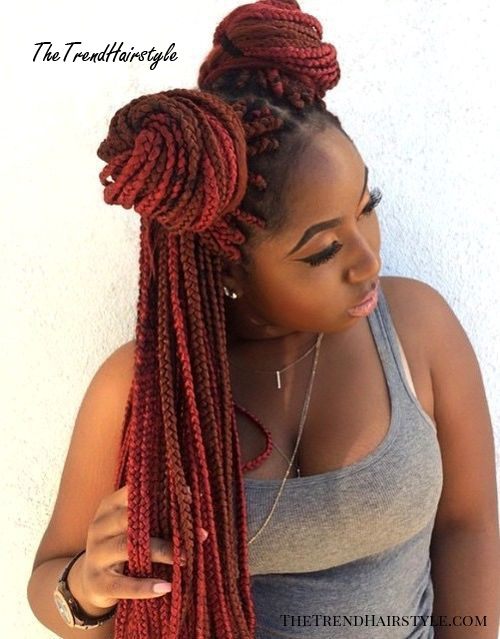 red and brown long box braids