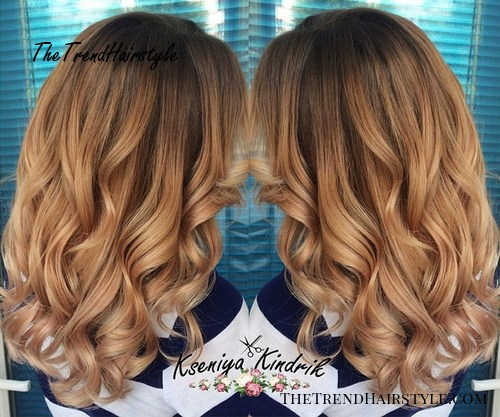 red curly ombre hairstyle