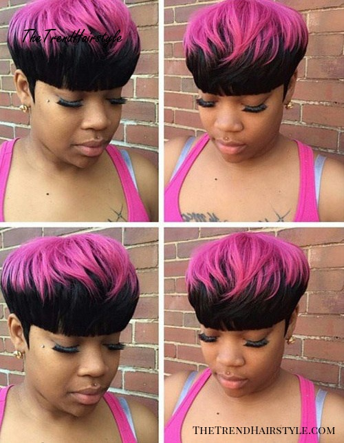 short black two-tone hair