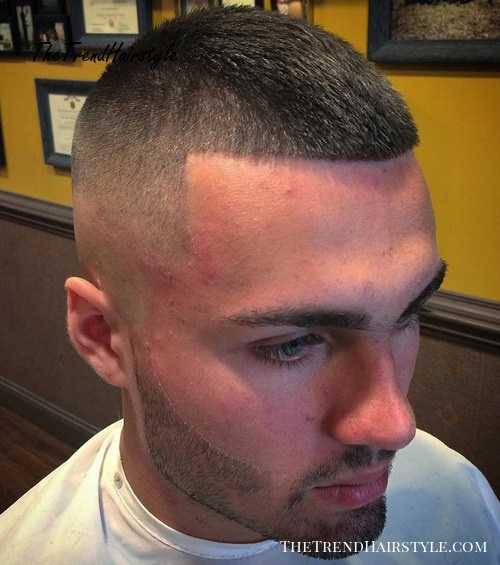 short buzz cut with faded sides