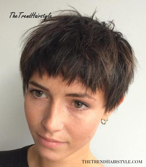 short choppy haircut for brown hair