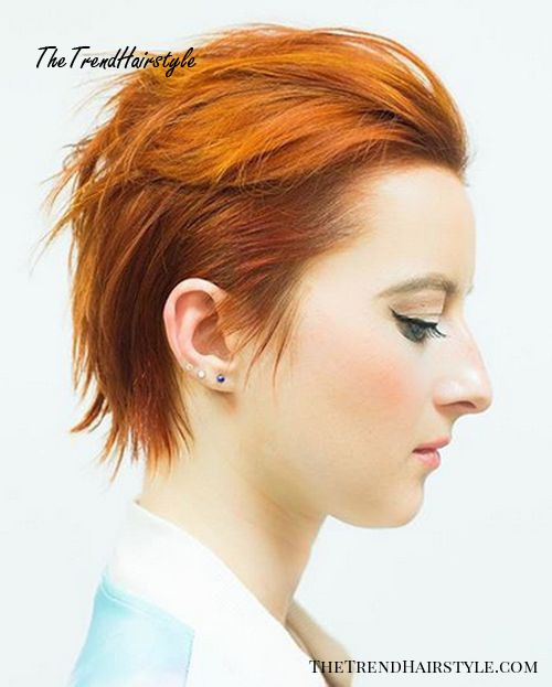short edgy red hairstyle for women