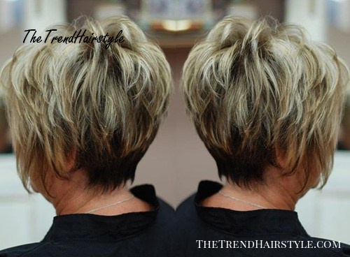 short feathered haircut for older women