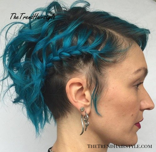 short messy braided hairstyle with blue hair color