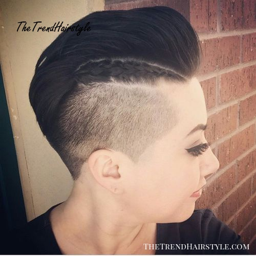 short mohawk with closely clipped sides for women