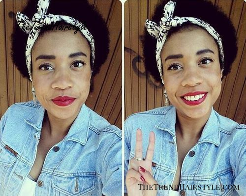 short natural hairstyle with a headband