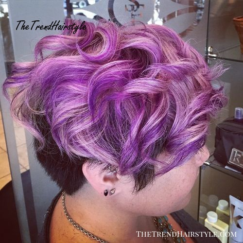 short undercut hairstyle with pastel purple top