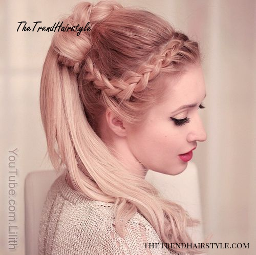 side braid and knotted ponytail hairstyle