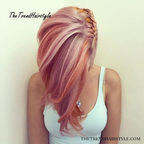side braid hairstyle for pastel pink hair