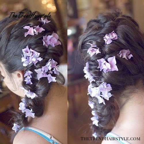 side braid with hair flowers