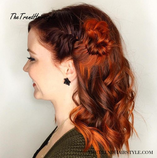 side fishtail knot half up hairstyle