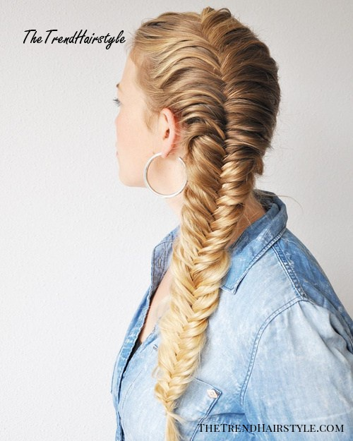 side french fishtail for long hair