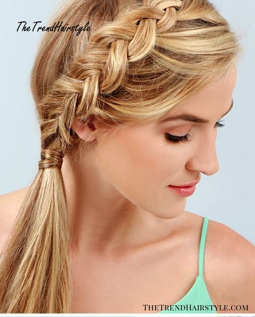 side pony with inside-out braid