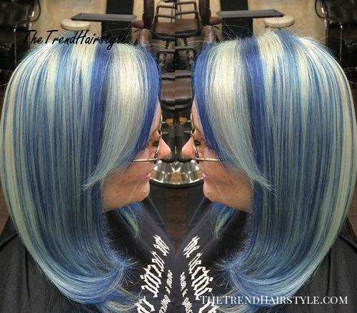 silver blonde hair with purple blue highlights
