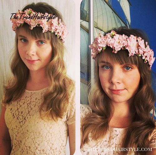 simple hairstyle with a flower headband
