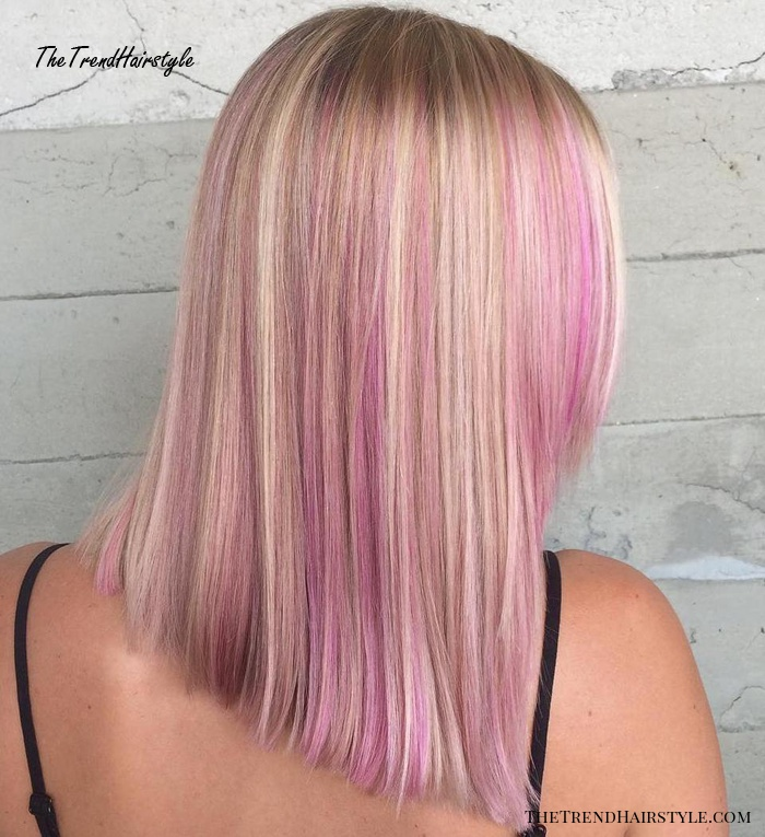 straight blonde hair with pink highlights