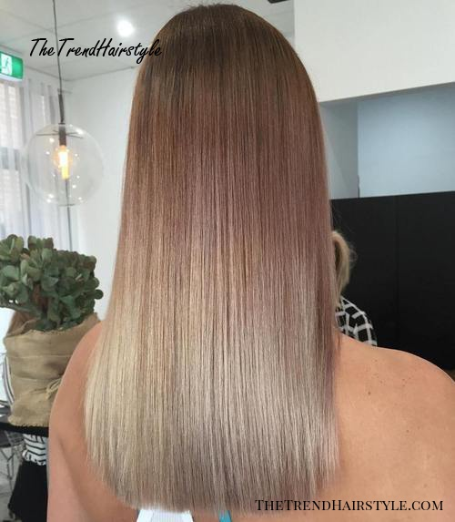 straight brown to blonde ombre hair