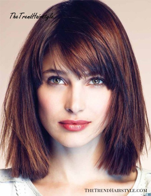 straight medium-length hairstyle for square face