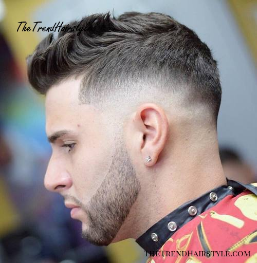 taper fade with upswept quiff