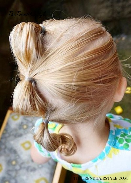 three ponytails hairstyle for toddlers