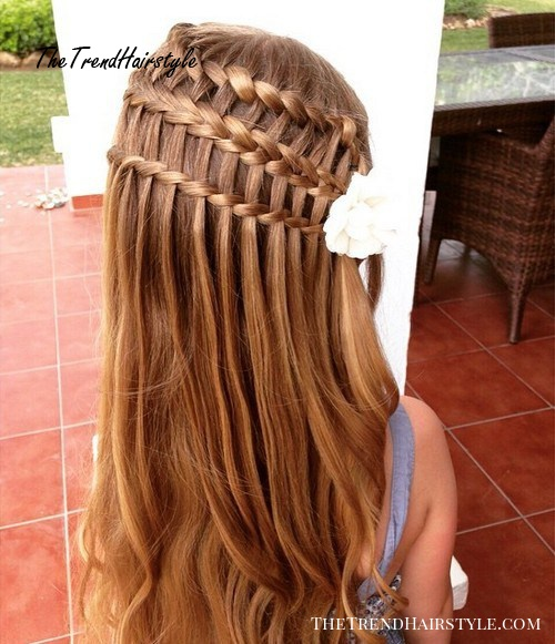 triple braid half up hairstyle for girls
