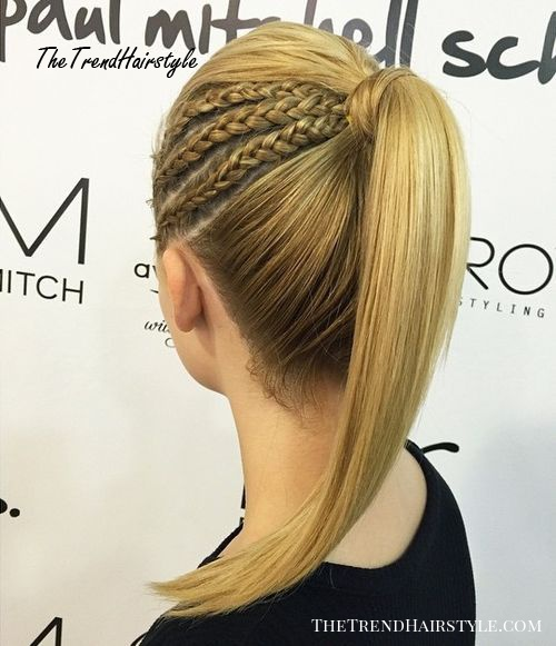 triple side braid into pony hairstyle