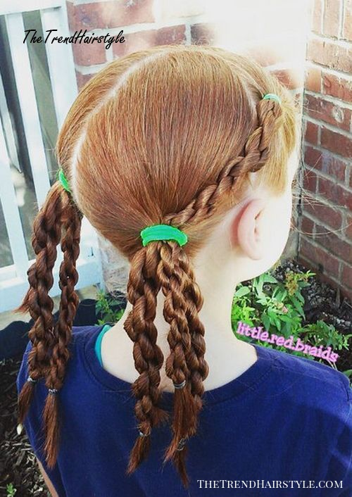 twisted braids in pigtails girls hairstyle