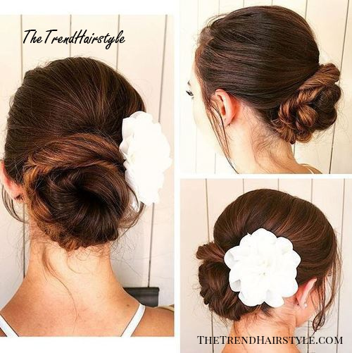 twisted bun with a flower
