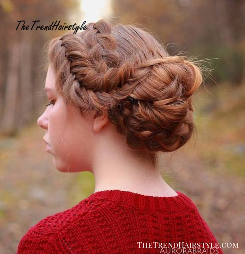 two braids and side bun updo
