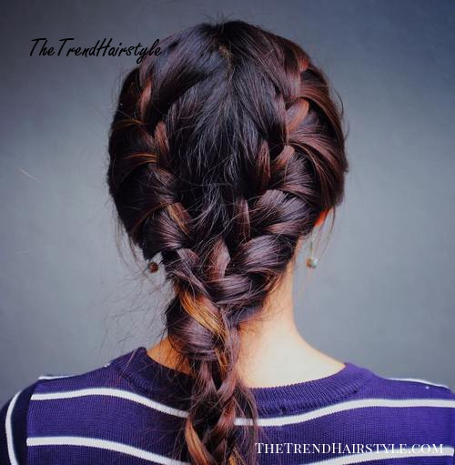 two braids messy hairstyle