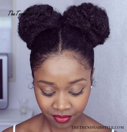 two buns for natural hair