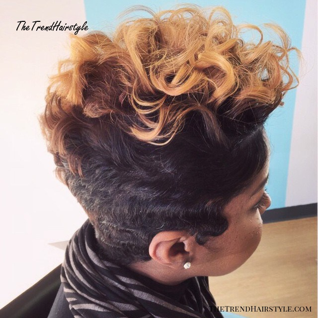 two-tone curly fauxhawk for black women