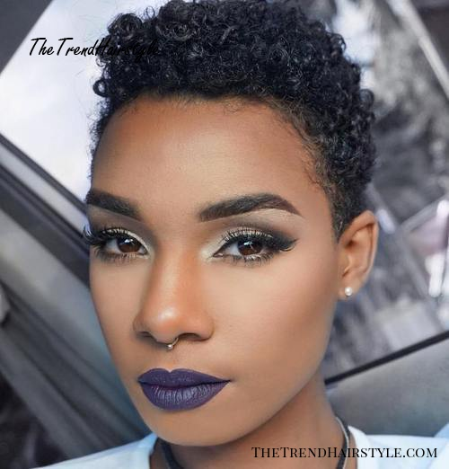 very short natural hairstyle for women