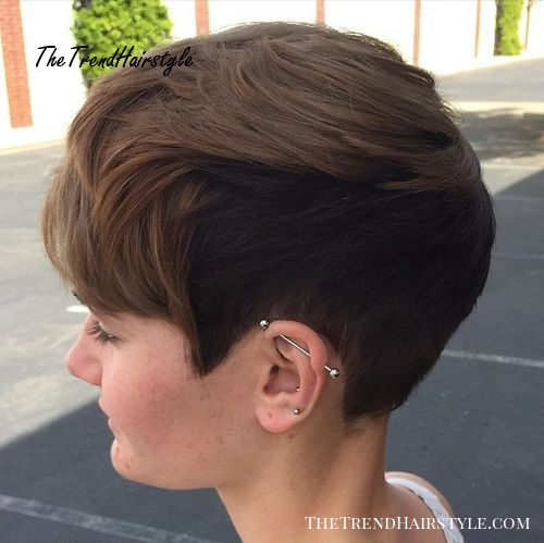 very short two-tone brown hairstyle