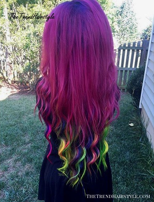 violet hair with rainbow ends