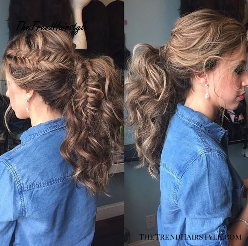 wavy ponytail with a side fishtail