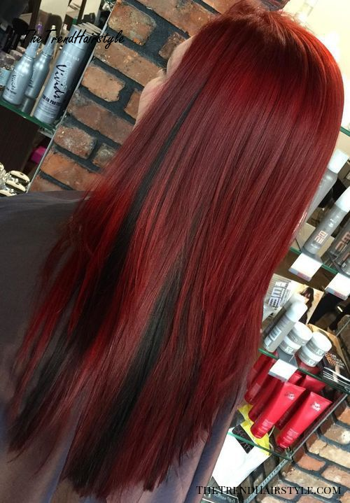 wine red hair with black peek-a-boo highlights
