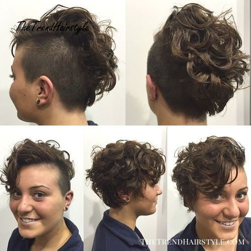 women's short curly hairstyle with side undercut